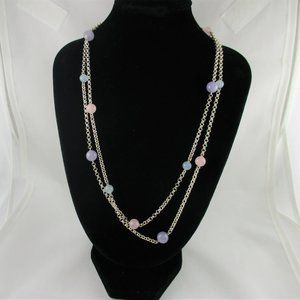 "Sterling 36"" Multi-Color Jade Bead Necklace"